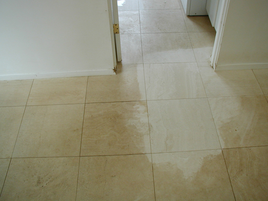 Cleaning marble tile in bathroom for Alliance flooring